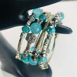 Teal Aqua Turquoise Stack Silver Tone Boho Bracele